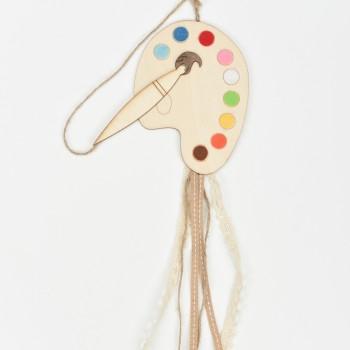 Μπομπονιέρα ξύλινη παλέτα με χρώματα 10*13cm