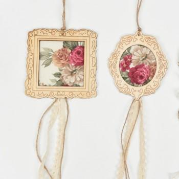 Μπομπονιέρα ξύλινη κορνίζα στρόγγυλη με ύφασμα λουλούδια10*18cm