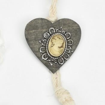Μπομπονιέρα καρδιά ξύλινη με μεταλλικό μοτίφ 6*22CM