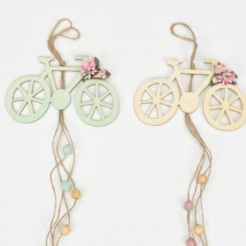 Μπομπονιέρα ξύλινη ποδήλατο με υφασμάτινο λουλούδι 15x40cm