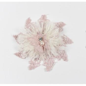 Κρεμαστή μπομπονιέρα με δαντέλες και στρας σε σχήμα αστεριού 12cm