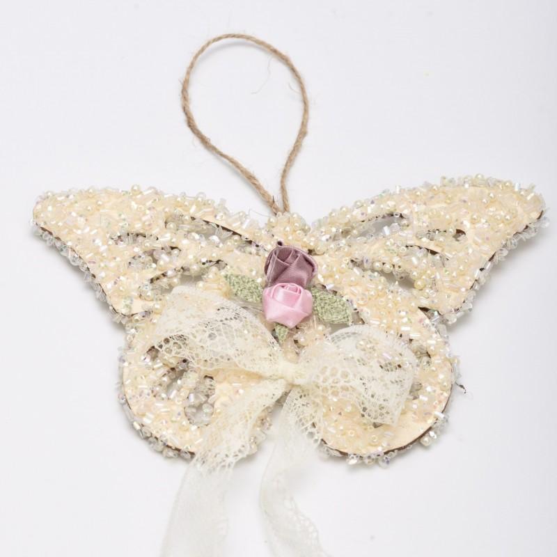 Ξύλινη πεταλούδα χάντρα