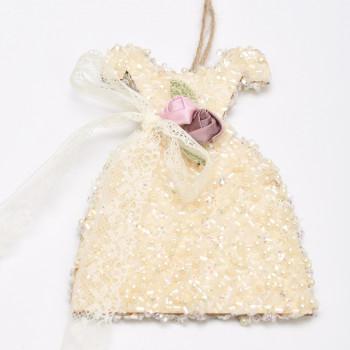 Ξύλινο φορεματάκι χάντρα λευκή  7X23CM