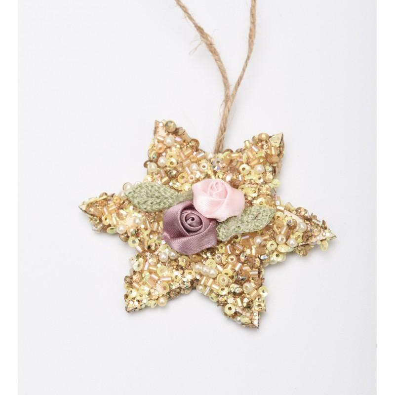 Ξύλινο αστέρι χάντρα χρυσή