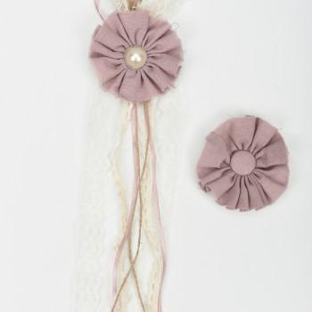 Κρεμαστή μπομπονιέρα υφασμάτινο λουλούδι