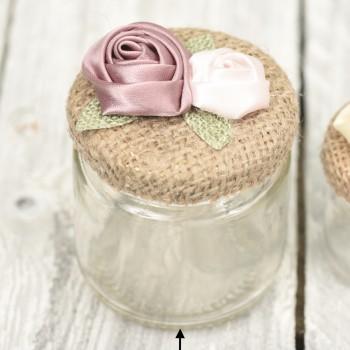 Βαζάκι 100ml με λινάτσα και λουλούδια υφασμάτινα