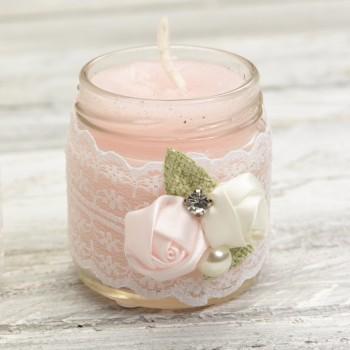 Βαζάκι κερί στολισμένο στρογγυλό