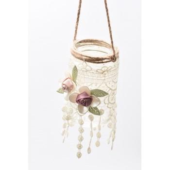 Βαζάκι κρεμαστό 12*7cm με κηπούρ  δαντέλα και υφασμάτινα λουλούδια