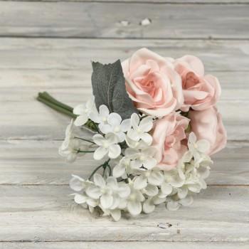 Μπουκέτο ορτανσία - τριαντάφυλλα