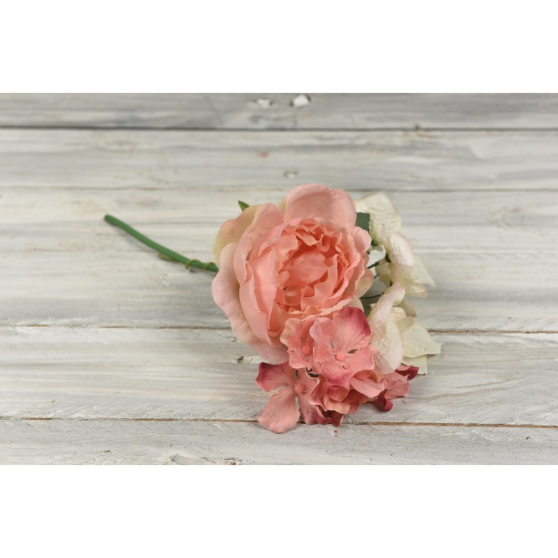 Μπουκέτο λουλουδιών τριαντάφυλλα  - ορτανσία 25cm