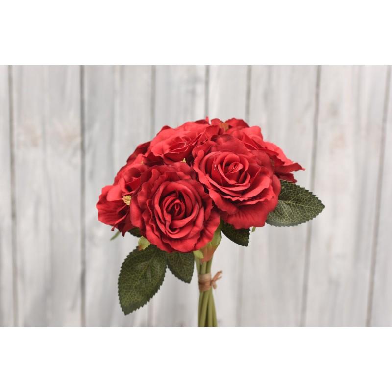 Υφασμάτινο μπουκέτο κόκκινα τριαντάφυλλα