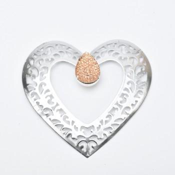 Μεταλλική αγκράφα καρδιά με στρας