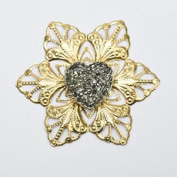 Μεταλλική αγκράφα χρυσή αστέρι με στρας καρδιά 5x5CM
