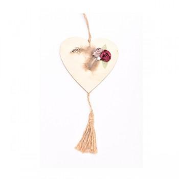 Κρεμαστή ξύλινη καρδιά με λουλούδια και φτερά  12*30cm