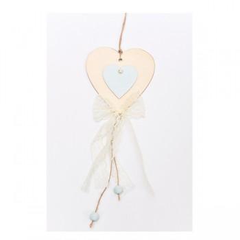 Κρεμαστή ξύλινη καρδιά με πέρλα και δαντέλα 12*43cm