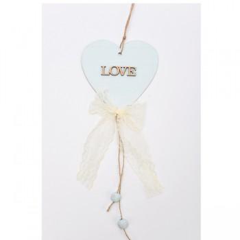 Κρεμαστή ξύλινη καρδιά με δαντέλα 12*43cm