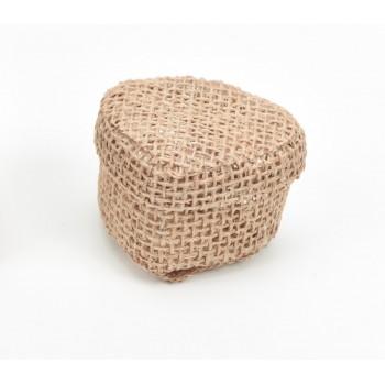 Κουτί μπομπονιέρας  από λινάτσα σε σχήμα καρδιάς 5,5x5,5x4,5cm