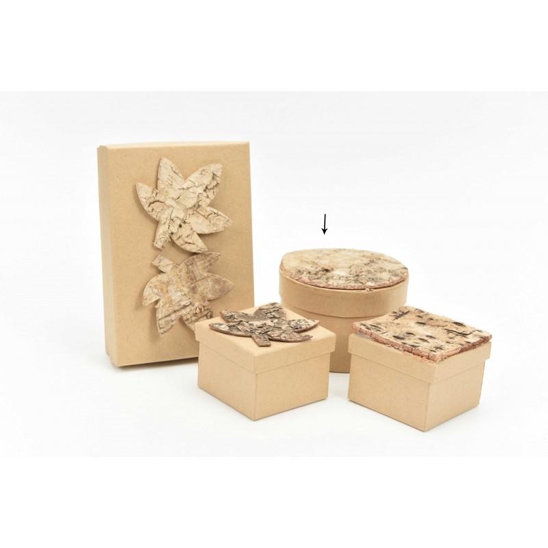 Κουτί μπομπονιέρας στρόγγυλο με ξύλινο φύλλο Φ10