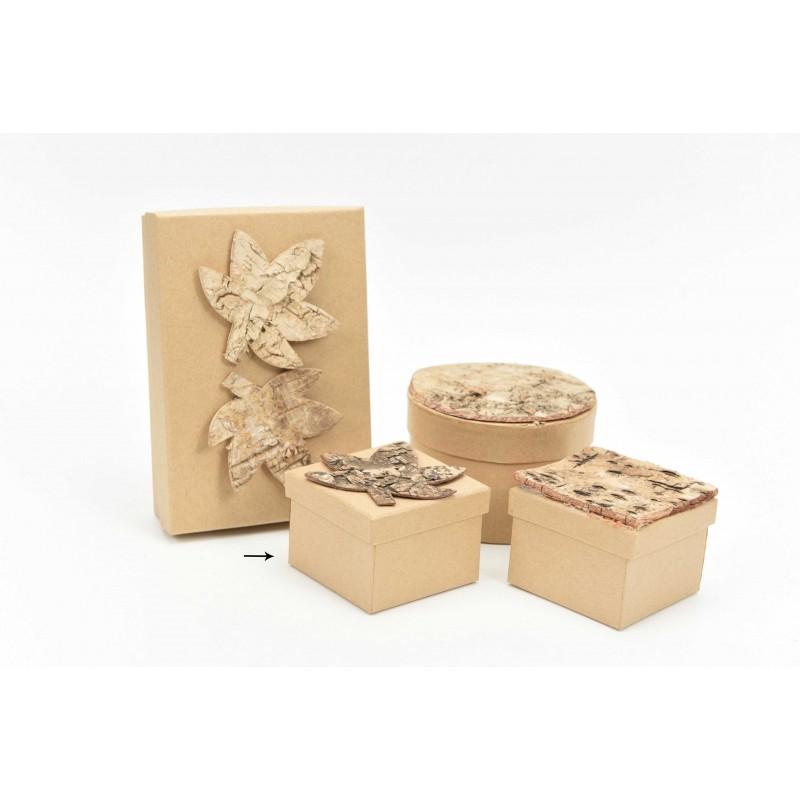 Κουτί μπομπονιέρας με ξύλινο φύλλο 7x7x5cm