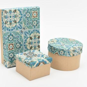 Κουτί μπομπονιέρας  ορθογώνιο ντυμένο με boho σχέδιο σε αποχρώσεις του μπλε  16x11cm