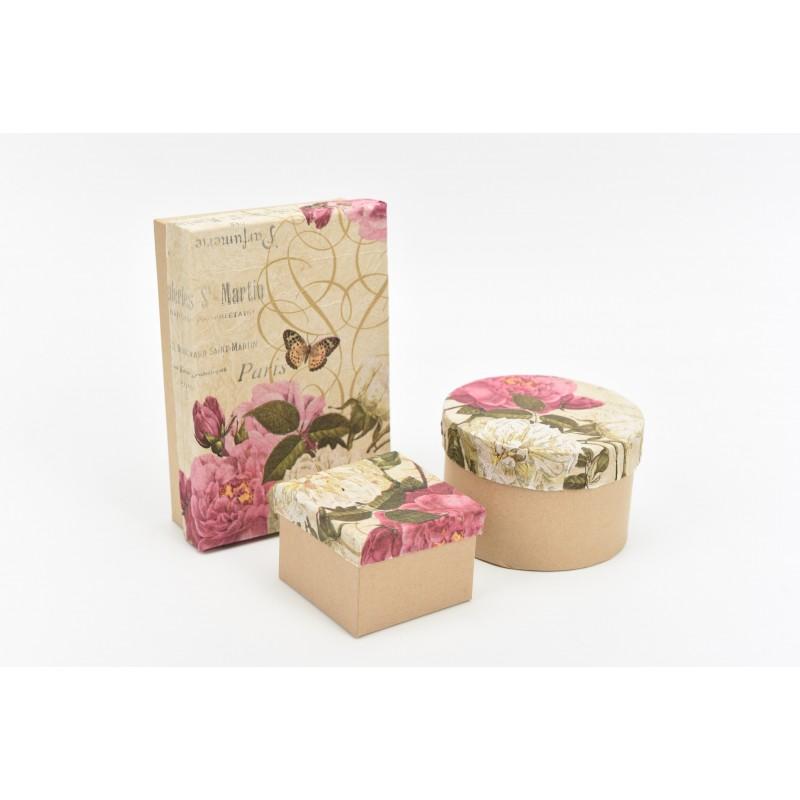 Κουτί στρόγγυλο ντυμένο με σχέδιο λουλούδια  σε αποχρώσεις του ροζ Φ10