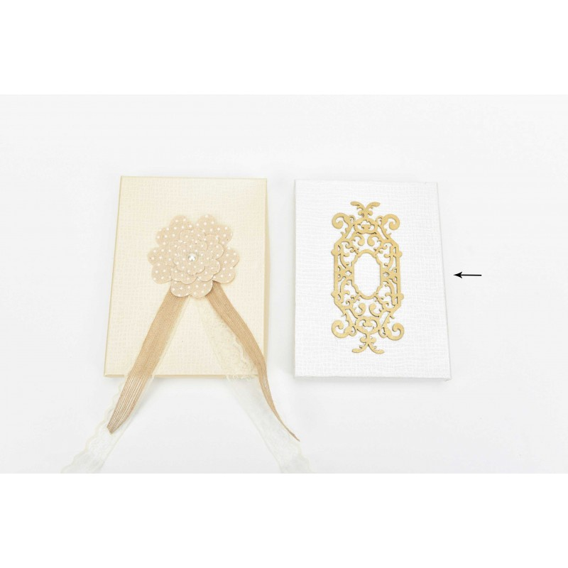 Κουτί μπομπονιέρας  λευκό με χρυσό lasercut σχέδιο 19x14x2,5cm
