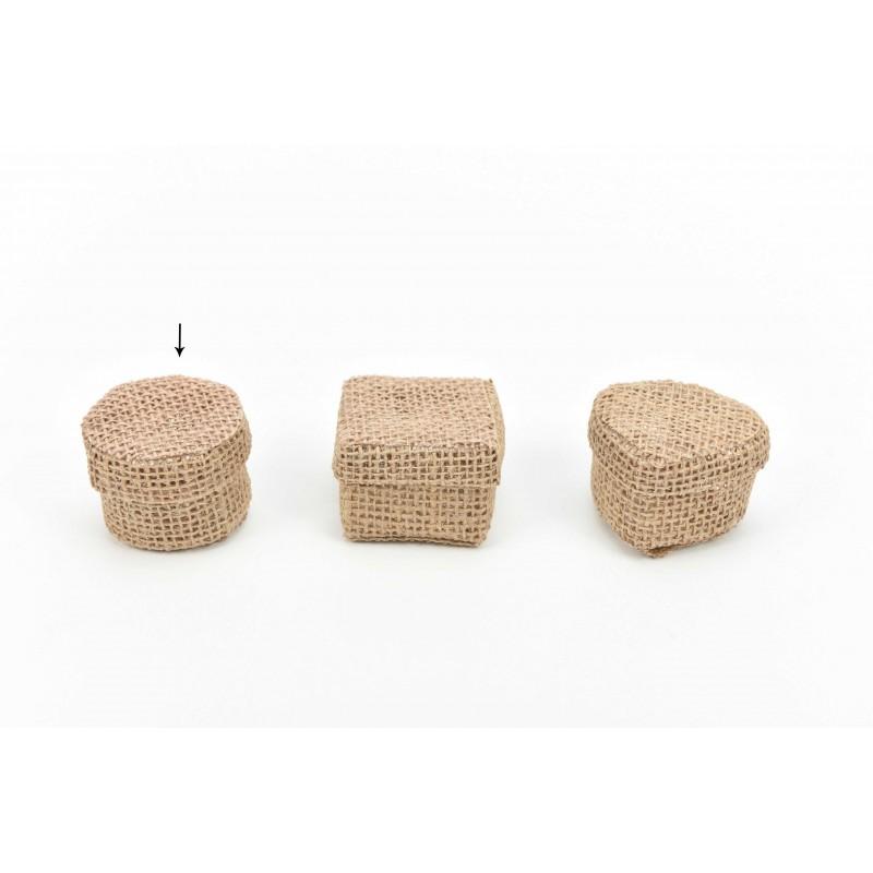 Κουτί μπομπονιέρας  από λινάτσα στρόγγυλο 5,5x5,5x4,5cm