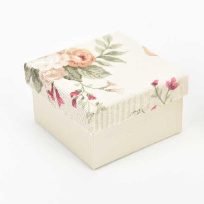 Κουτί μπομπονιέρας  με λουλούδια στο καπάκι  8x8x5