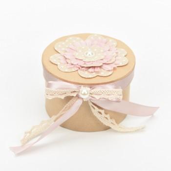 Κουτί μπομπονιέρας  με λουλούδια στο καπάκι  Φ10