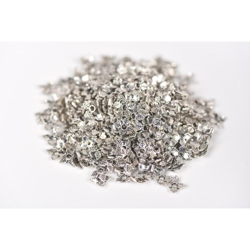 Μεταλλικό στοιχείο φύλλα  ασημί 2cm
