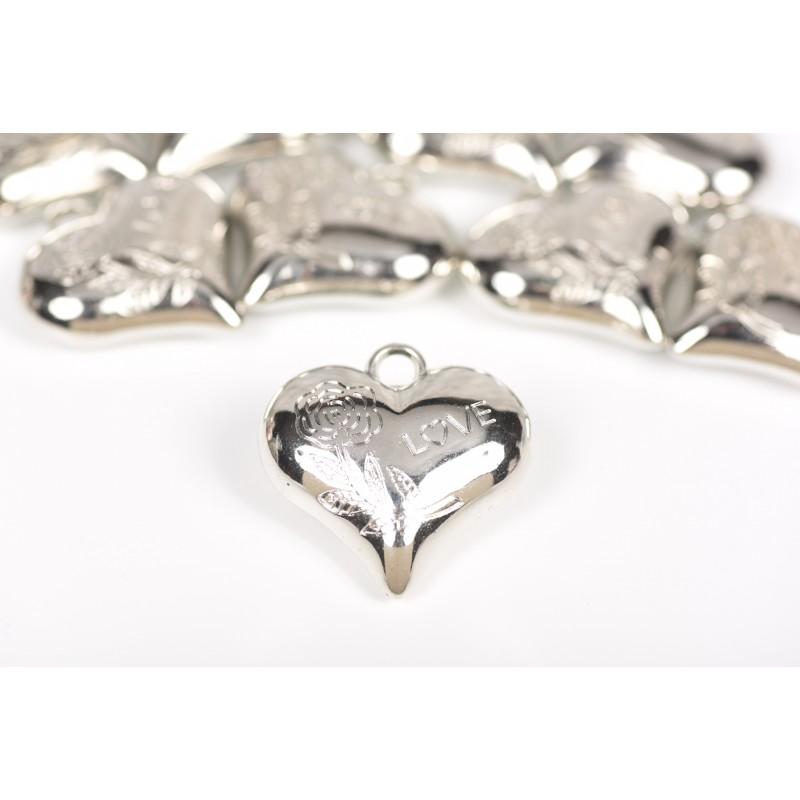 Μεταλλικό στοιχείο καρδιά ασημί 4*4cm