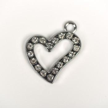 Μεταλλική καρδιά ασημί 2cm