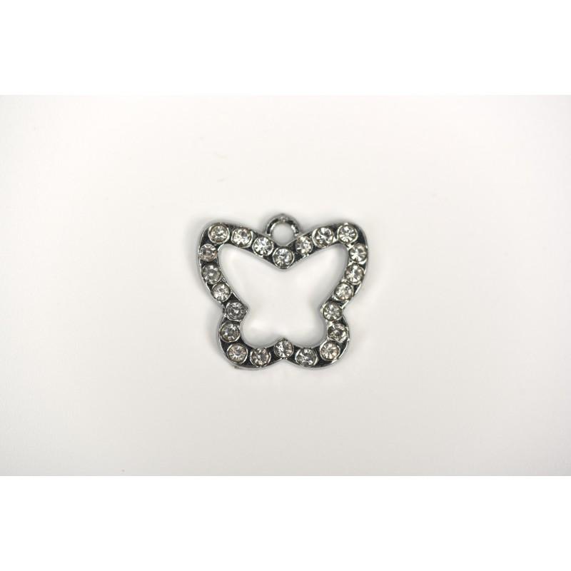 Μεταλλική πεταλούδα ασημί 2cm