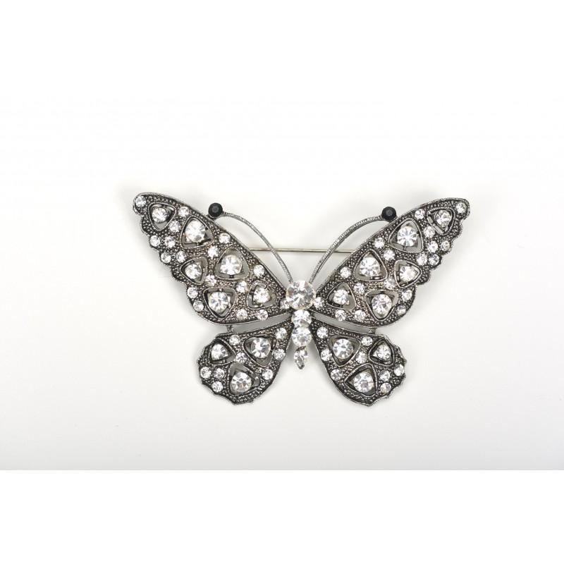 Καρφίτσα πεταλούδα με στρας 8cm