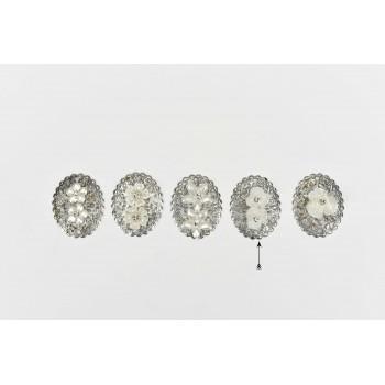 Μεταλλικό μοτίφ με πέρλες λουλούδια 4.5cm