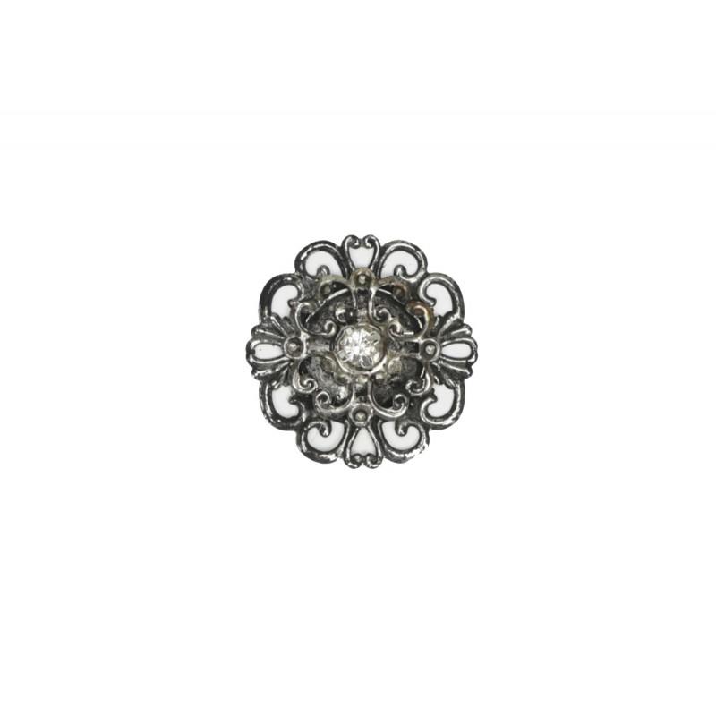 Μεταλλικό μοτίφ στρόγγυλο με λουλούδι στρας 3.5cm