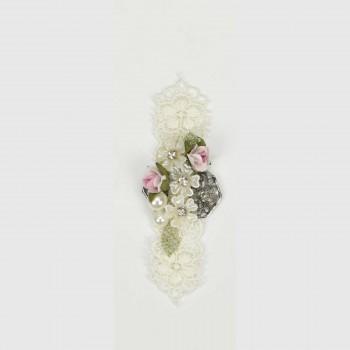 Μεταλλικό μοτίφ δαντέλα, λουλούδια,πέρλες 11cm