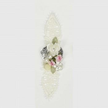 Μεταλλικό μοτίφ δαντέλα, λουλούδια,πέρλες 14cm
