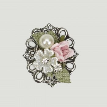 Μεταλλικό μοτίφ δαντέλα, λουλούδια,πέρλες 4cm