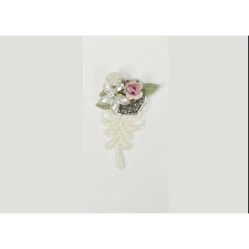Μοτίφ με δαντέλα, λουλούδια και πέρλες 7cm