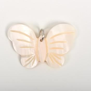 Πέρλα λευκή σχέδιο πεταλούδα 2*3cm