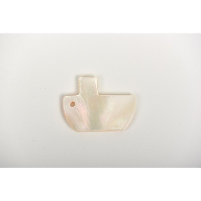 Πέρλα λευκή σχέδιο καράβι 1.5*2cm