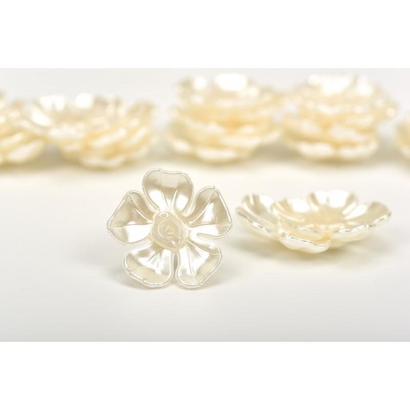 Πέρλα λουλούδι λευκό 4cm