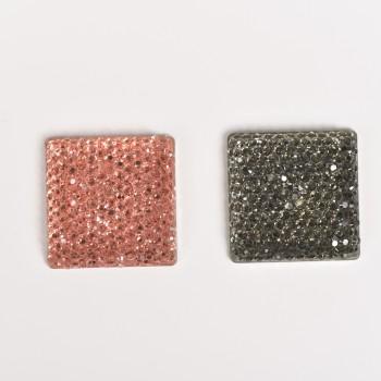 Καστόνι τετράγωνο με στρας μαύρα και ροζ 2,5*2,5cm