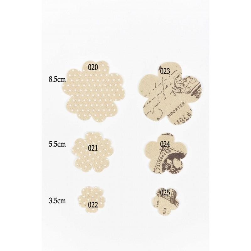 Υφασμάτινα Λουλούδια με σχέδιο γράμματα  8,5cm