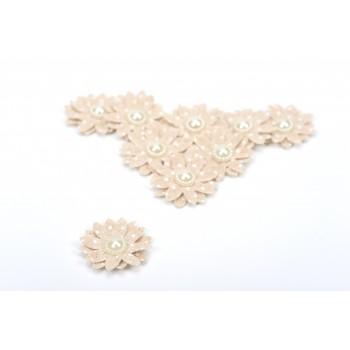 Υφασμάτινα Λουλούδια πουά ιβουάρ