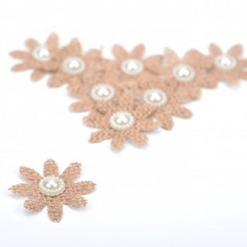 Υφασμάτινα Λουλούδια φυσικό χρώμα λινάτσα